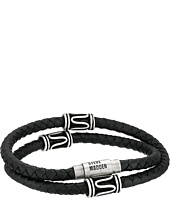 Steve Madden - Stainless Steel Swirl Beads Wrap-Around Braided Leather Bracelet