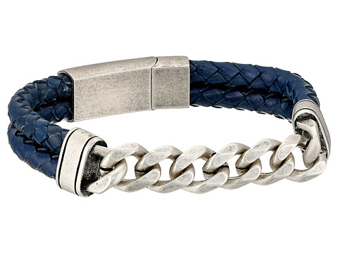 Steve Madden Stainless Steel Curb Chain w/ Blue Braided Leather Bracelet - Silver