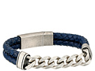Steve Madden Stainless Steel Curb Chain w/ Blue Braided Leather Bracelet