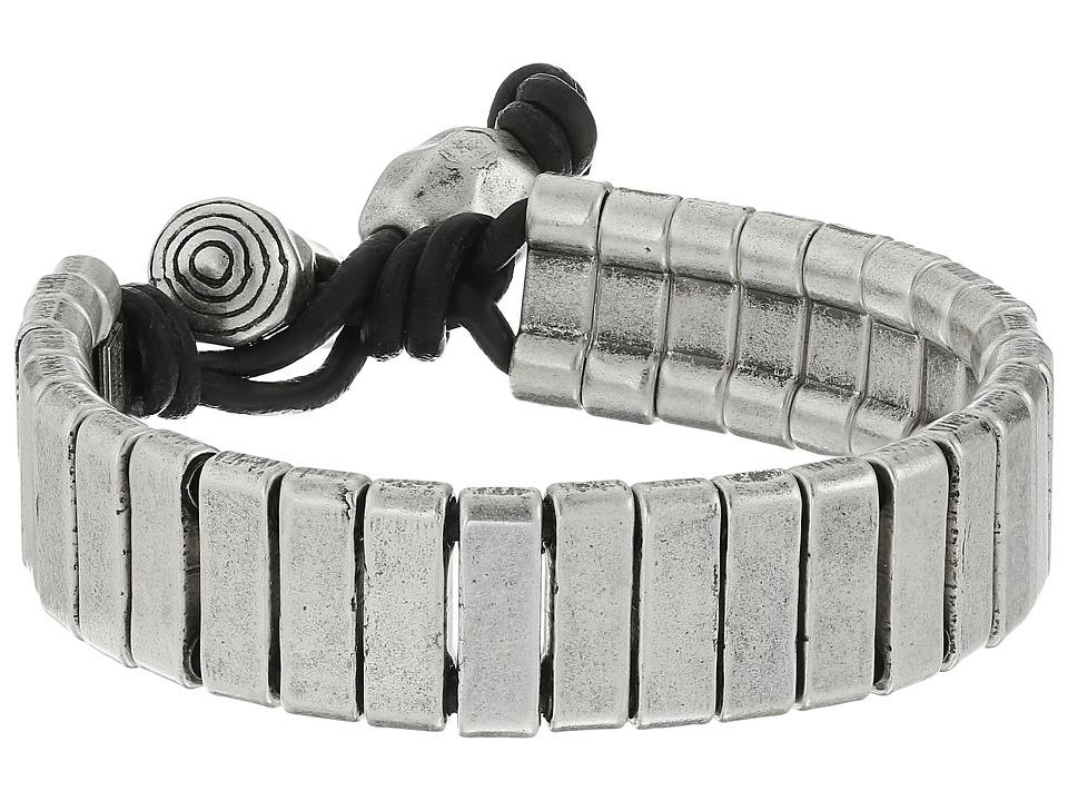 Steve Madden - Stainless Steel Rectangle Bar w/ Ball and Horn Leather Bracelet (Silver) Bracelet