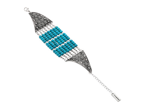 Steve Madden Multi-Row Round Turquoise Stone Beads Open Cuff Bangle Bracelet
