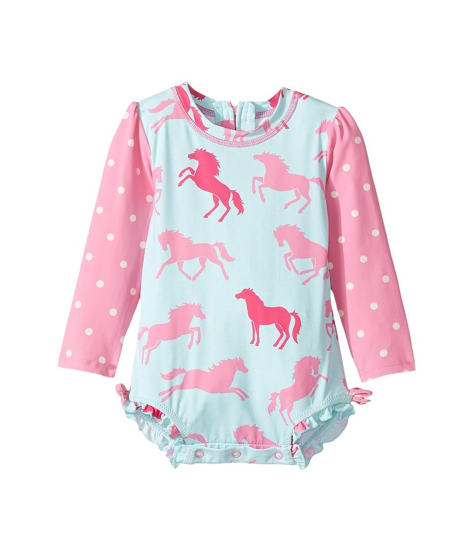 Hatley Kids Ponies Polka Dots Rashguard (Infant) (Blue) Girl