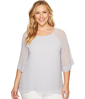 B Collection by Bobeau Curvy - Plus Size Birdie Mix Media Blouse