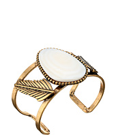 Steve Madden - White Stone w/ Leaves Open Cuff Bangle Bracelet