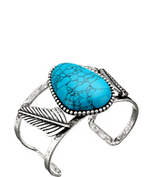 Steve Madden - Turquoise Stone w/ Leaves Open Cuff Bangle Bracelet