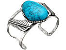 Steve Madden - Turquoise Stone w/ Leaves Open Cuff Bangle Bracelet