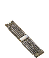 Steve Madden - Rectangle White Stone Textured Border w/ Curb Chain Bracelet