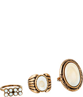 Steve Madden - Round and Oval White Stone Three-Piece Ring Set