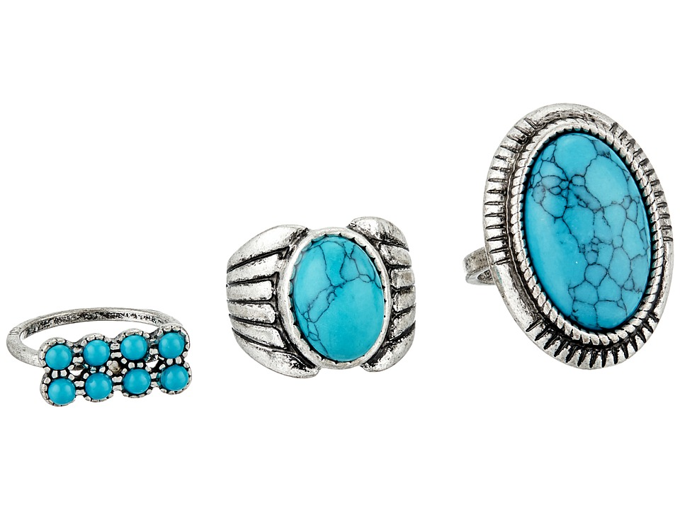 Steve Madden - Round and Oval Turquoise Stone Three-Piece Ring Set (Silver) Ring