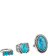 Steve Madden - Round and Oval Turquoise Stone Three-Piece Ring Set