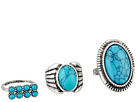Round and Oval Turquoise Stone Three-Piece Ring Set