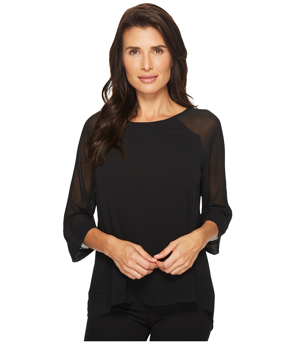 B Collection by Bobeau - Birdie Mix Media Blouse (Black) Womens Blouse