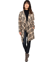 Ivanka Trump - Plaid Open Fringe Sweater Knit Cardigan