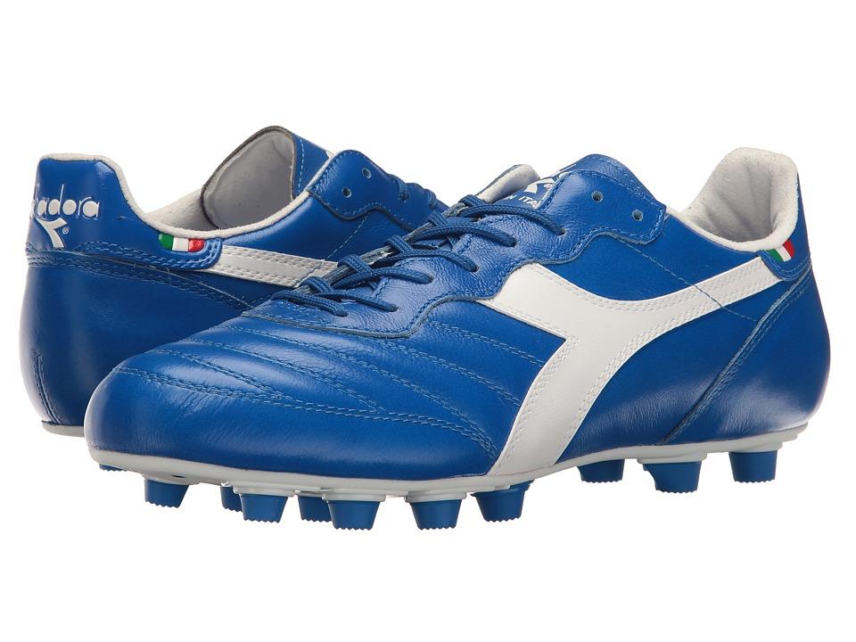 Diadora Brasil Ita LT MD PU (White/Royal) Soccer Shoes
