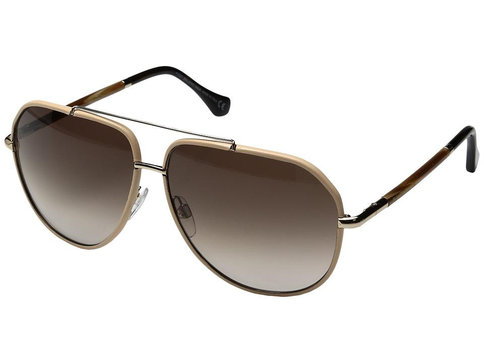 Image of Balenciaga - BA0062 (Shiny Rose Gold/Nude Leather/Gradient Brown) Fashion Sunglasses