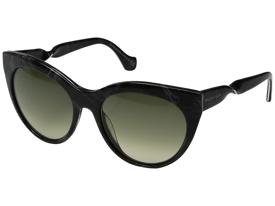 Image of Balenciaga - BA0051 (Black Marble/Gradient Smoke) Fashion Sunglasses