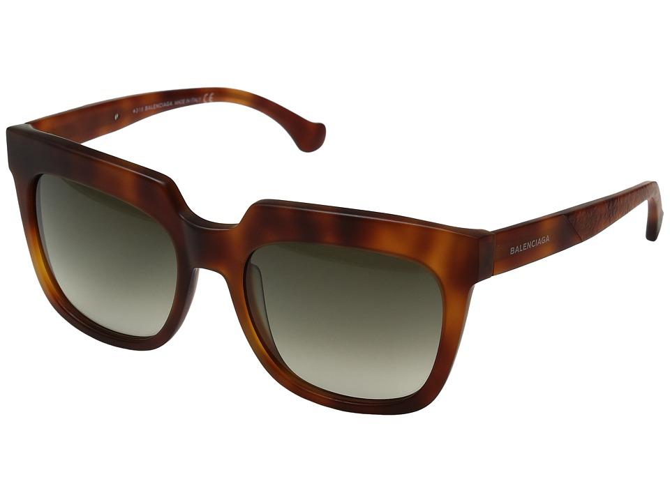 Balenciaga - BA0068 (Semi Shiny Light Havana/Gradient Smoke) Fashion Sunglasses