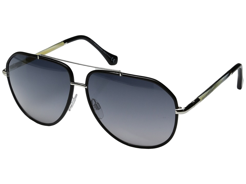 Balenciaga - BA0062 (Palladium/Black Leather/Gradient Smoke) Fashion Sunglasses
