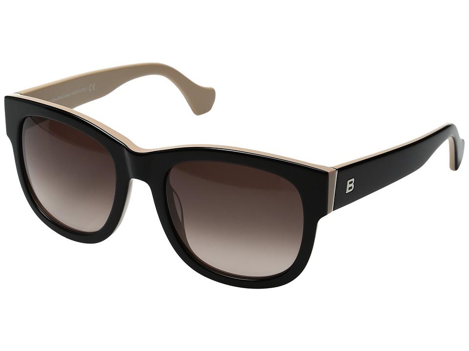 Image of Balenciaga - BA0069 (Shiny Black/Gradient Brown) Fashion Sunglasses