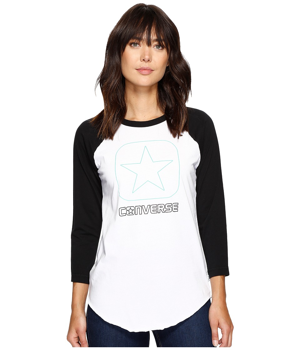 Converse Flocked Box Star Raglan Tee (Vintage Grey Heather) Women
