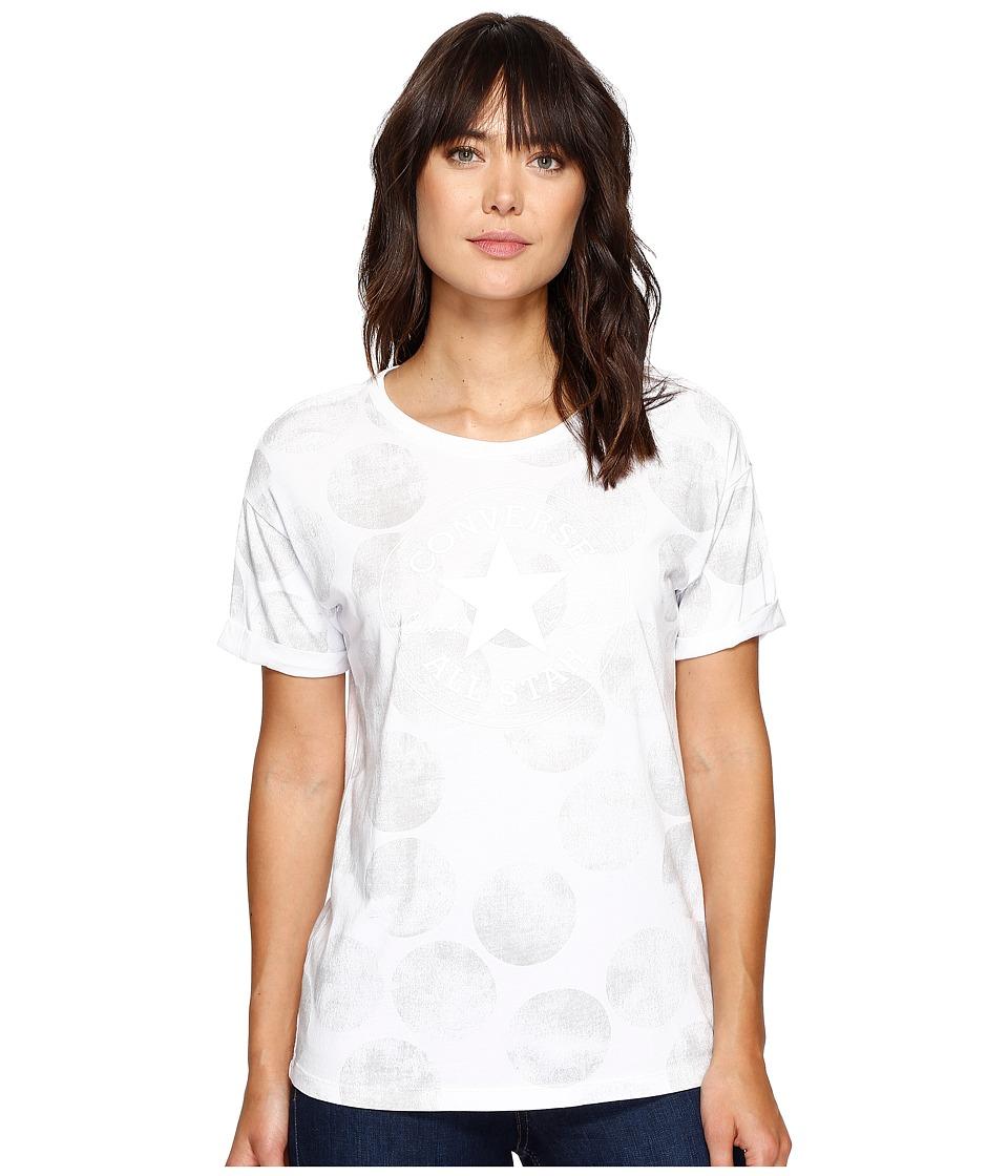 Converse Big Dot Chuck Patch Roll-Sleeve Short Sleeve Tee (White) Women