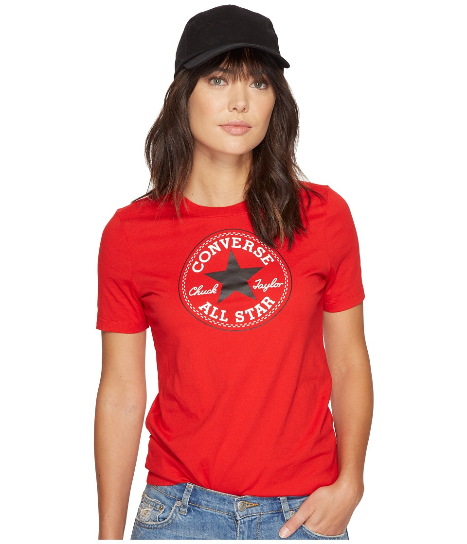Converse Core Solid Short Sleeve Core Patch Crew Tee (Casino Red) Women