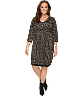 London Times - Plus Size 3/4 Sleeve V-Neck Sweater Knit Dress