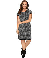 London Times - Plus Size Short Sleeve Fit & Flare Sweater Dress