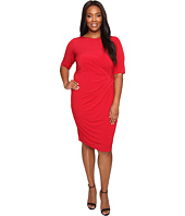 London Times - Plus Size Matte Jersey Sheath Dress w/ Ruching