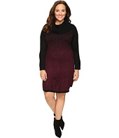 London Times - Plus Size Cowl Neck Long Sleeve Sweater Knit Dress