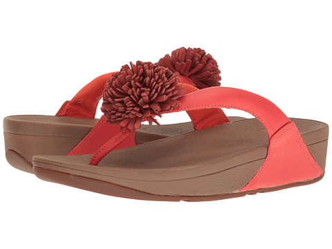 FitFlop Flowerball Leather Toe Post - Flame