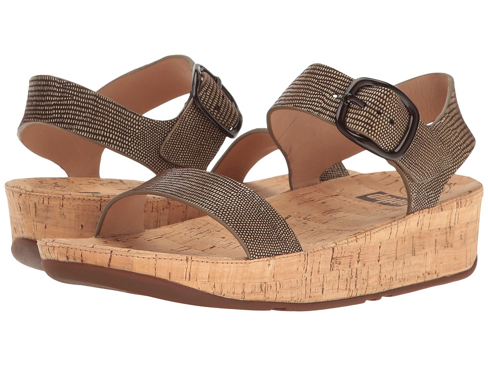 FitFlop Bon Lizard Print Sandal (Chocolate Brown) Women