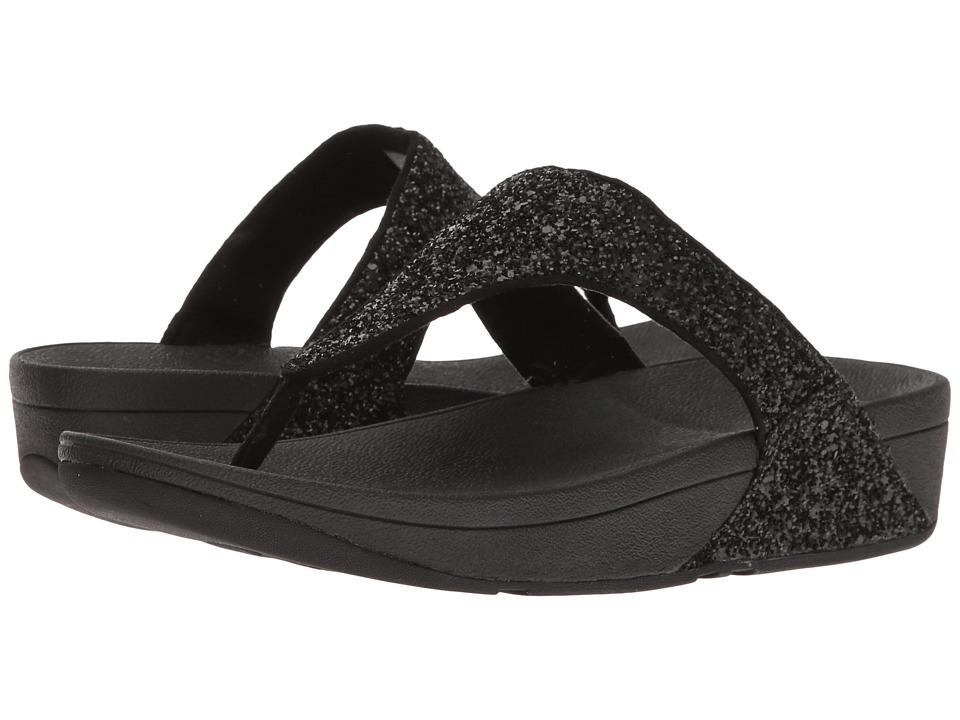 FitFlop Glitterball Toe Post (Black) Women