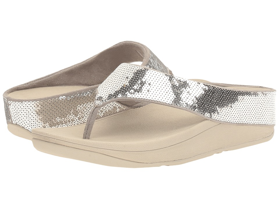 FitFlop Ringer Sequin Toe Post (Silver) Women