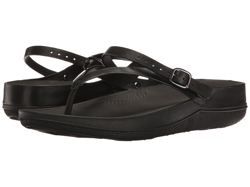 FitFlop Flip Leather Sandals (All Black) Women