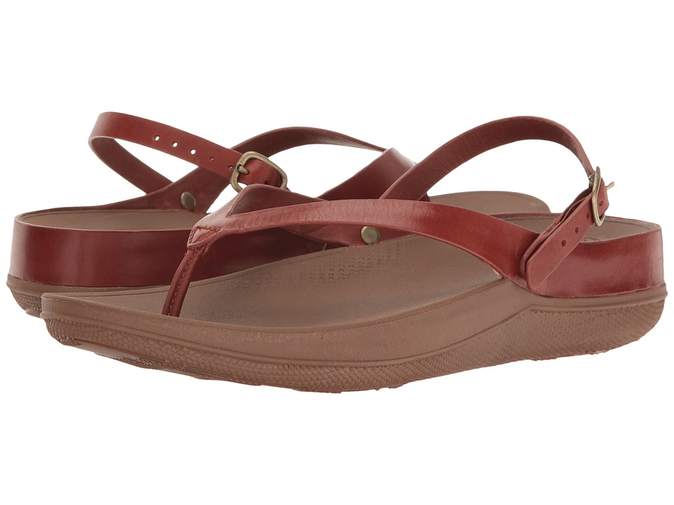 FitFlop Flip Leather Sandals (Dark Tan) Women