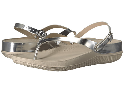 FitFlop Flip Leather Sandals - Silver Mirror