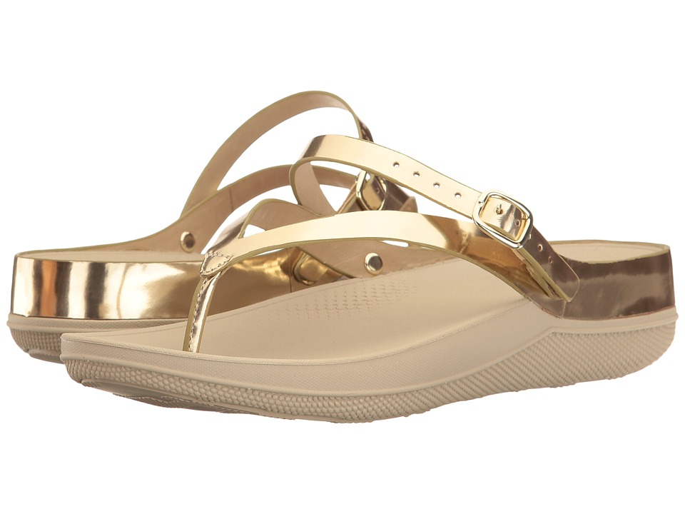 FitFlop Flip Leather Sandals (Gold Mirror) Women