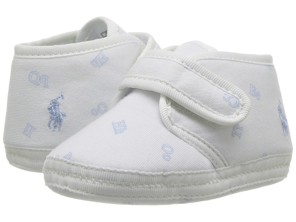 Polo Ralph Lauren Kids Cozy (Infant/Toddler) (White/Navy Block/Ralph Lauren Print) Kid's Shoes
