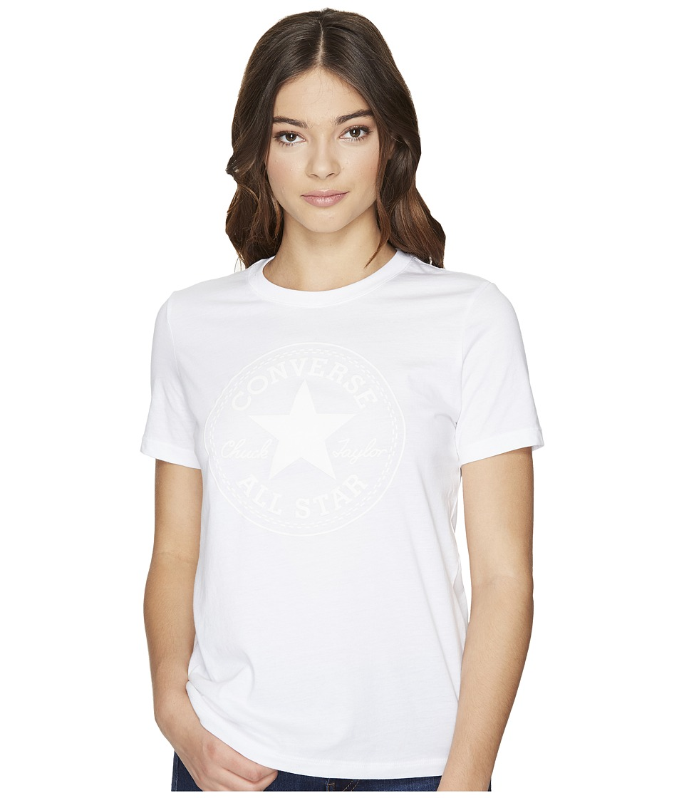 Converse Puff Chuck Patch Short Sleeve Crew Tee (White) Women