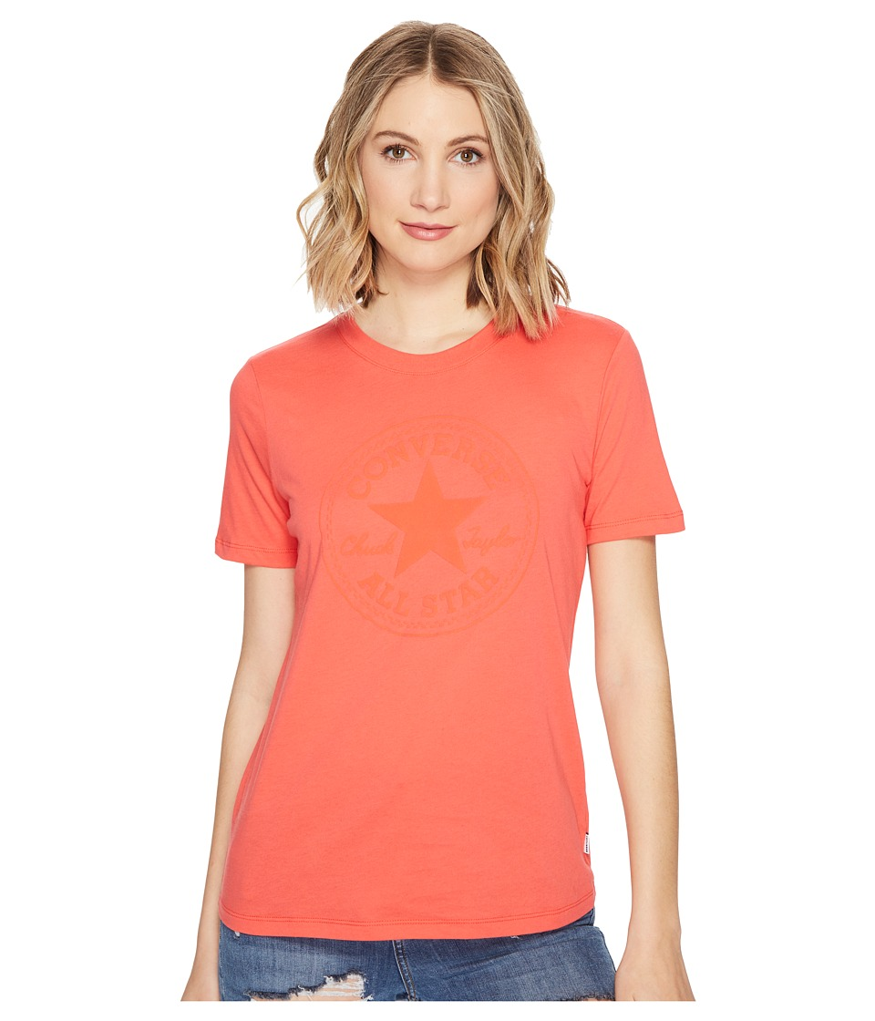 Converse Puff Chuck Patch Short Sleeve Crew Tee (Ultra Red) Women