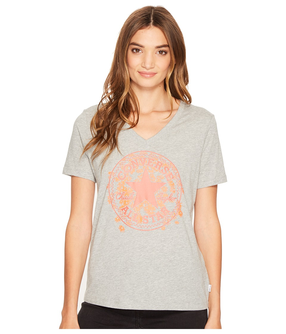 Converse Daisy Chuck Patch V-Neck Short Sleeve Tee (Vintage Grey Heather) Women