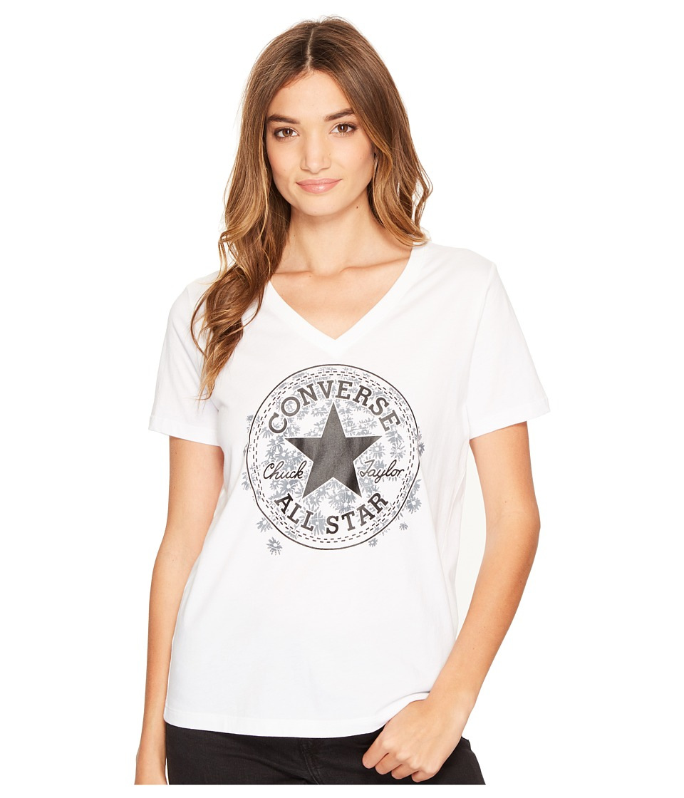 Converse Daisy Chuck Patch V-Neck Short Sleeve Tee (White) Women
