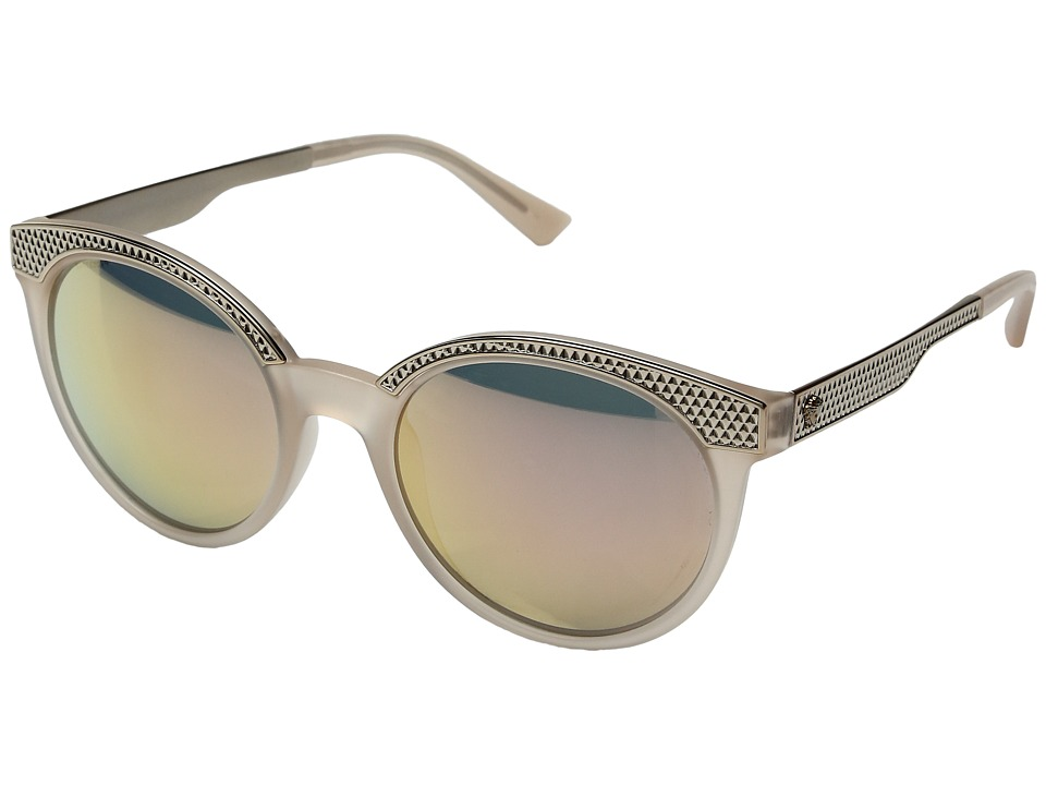 Versace - VE4330 (Matte Opal Powder/Grey Mirror Rose Gold) Fashion Sunglasses