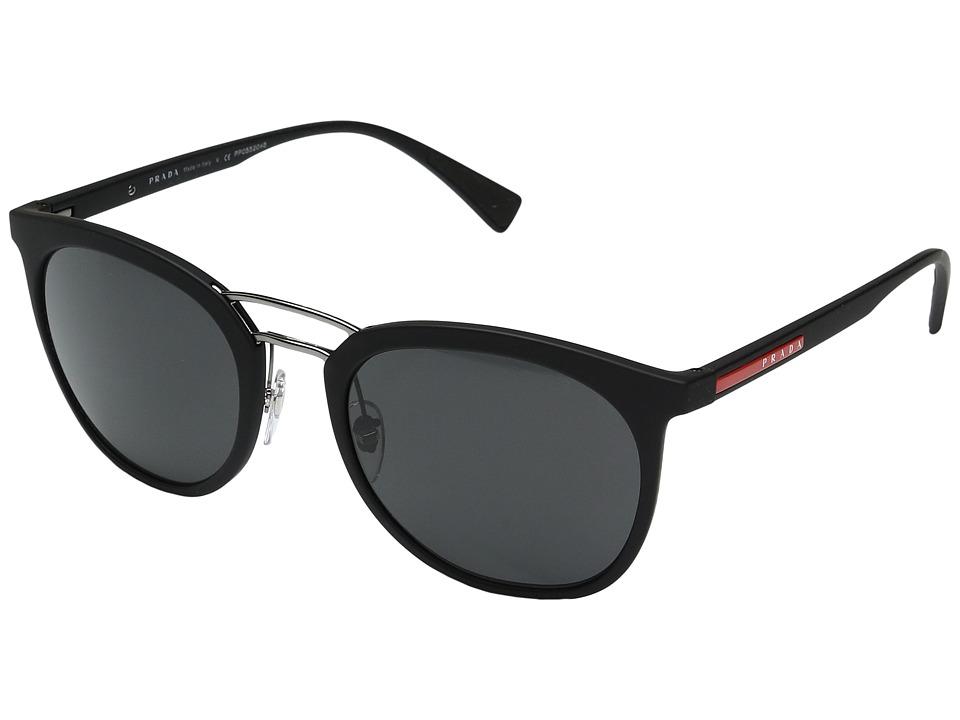 Prada Linea Rossa - 0PS 04SS (Black Rubber/Grey) Fashion Sunglasses