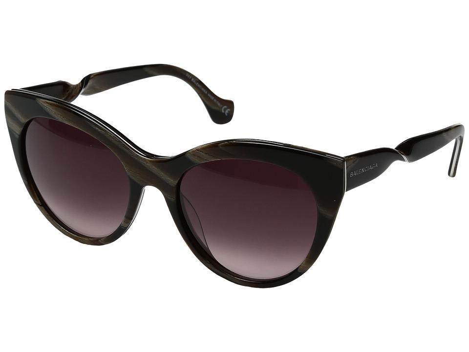 Image of Balenciaga - BA0051 (Brown Horn/Palladium/Gradient Wine) Fashion Sunglasses