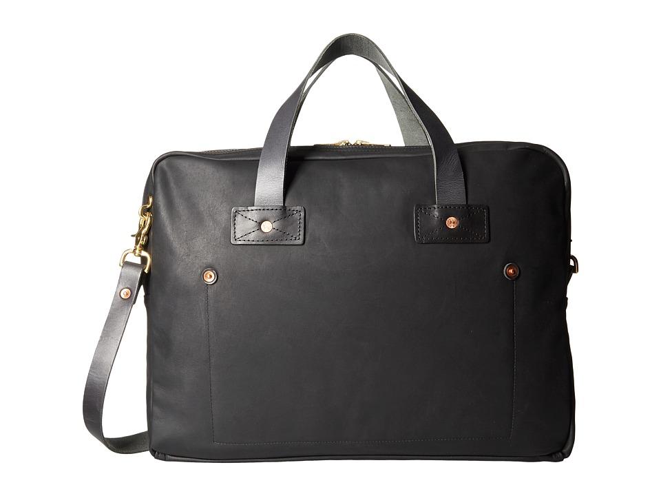 Billy Reid Worn Leather Messenger Bag (Black) Messenger Bags