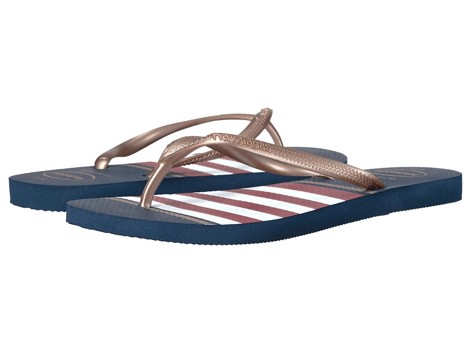Havaianas - Slim Nautical Flip-Flops (Navy Blue) Women's Sandals
