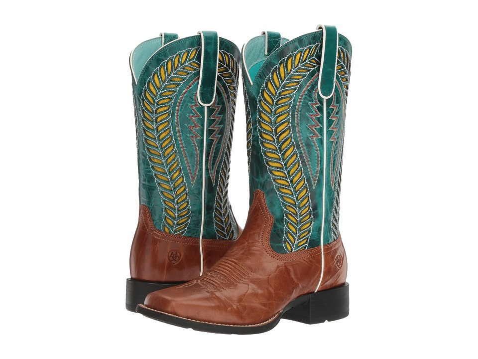 Ariat Quickdraw Venttek (Gingersnap/Turquoise) Cowboy Boots