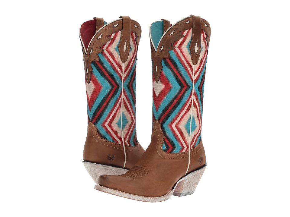 Ariat Circuit Cheyenne (Ranch Tan/Sky Blue Aztec Print) Cowboy Boots